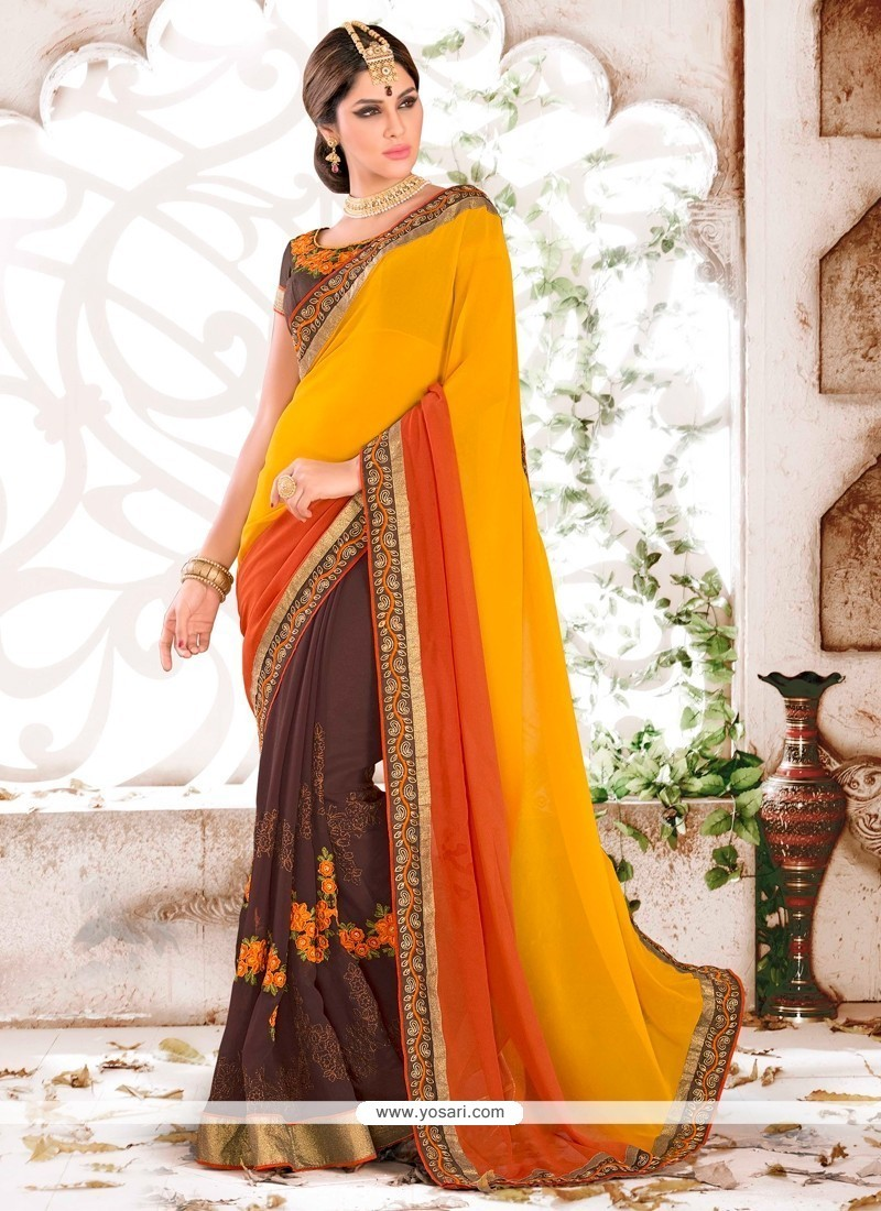 Adorable Georgette Patch Border Work Classic Saree