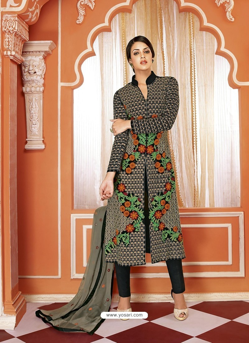 Splendid Black Georgette Churidar Suit