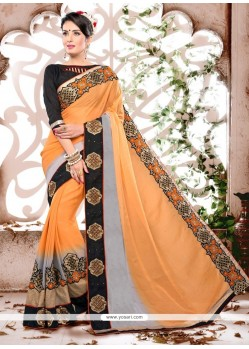 Chic Patch Border Work Georgette Designer Saree