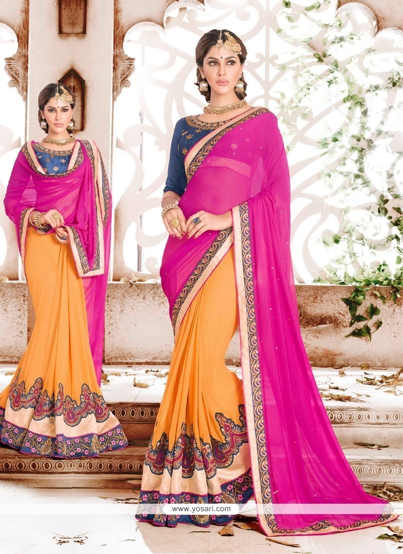 Classy Georgette Embroidered Work Classic Saree