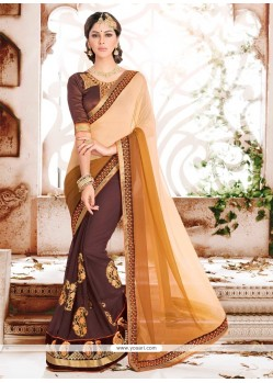 Swanky Georgette Brown Designer Saree