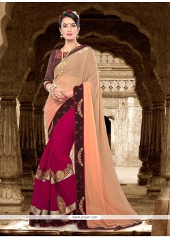 Intrinsic Magenta Patch Border Work Georgette Classic Saree