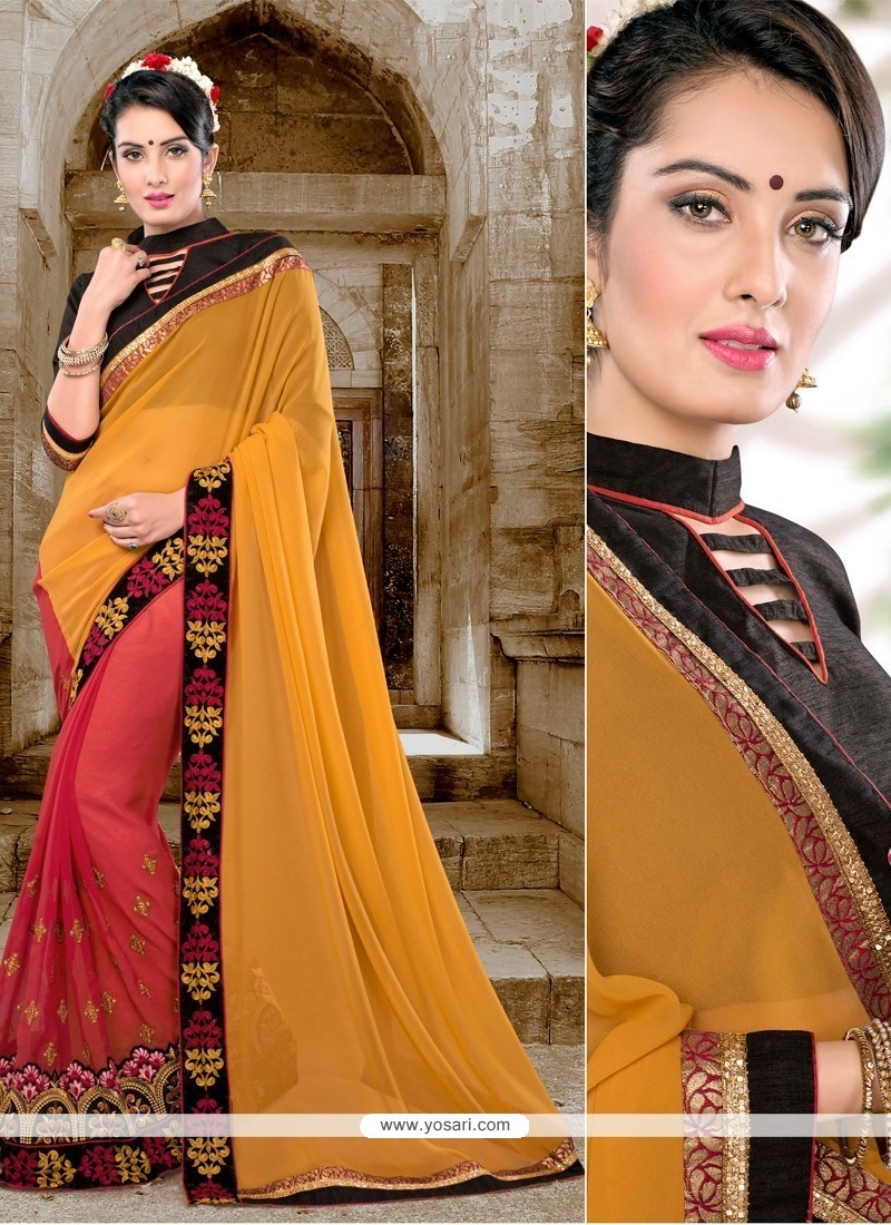 Sparkling Red And Yellow Patch Border Work Classic Saree