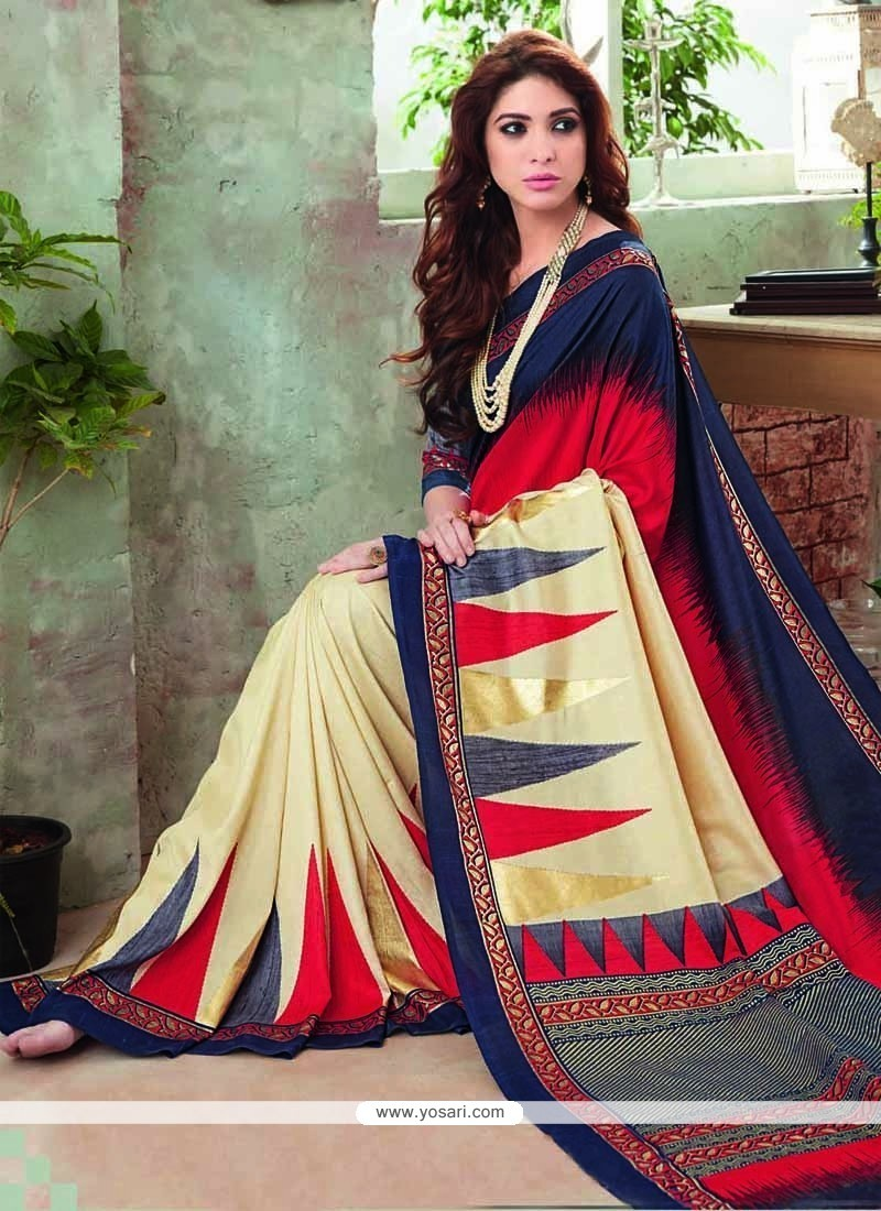 Adorning Art Silk Multi Colour Printed Saree