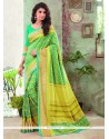 Hypnotic Print Work Green Printed Saree