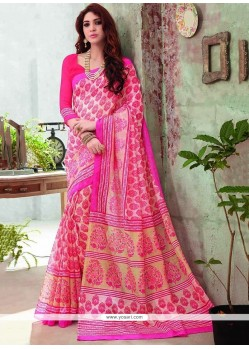 Epitome Pink Art Silk Printed Saree