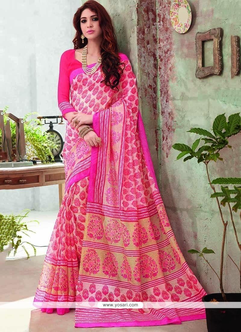 Epitome Pink Art Silk Printed Saree