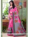 Eye-catchy Art Silk Pink Printed Saree