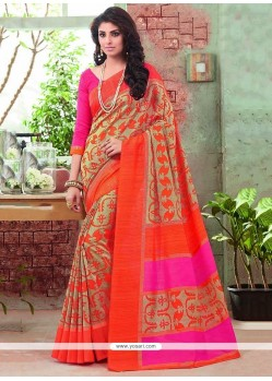 Gleaming Art Silk Multi Colour Print Work Printed Saree