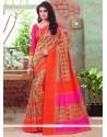 Gleaming Art Silk Multi Colour Print Work Printed Saree