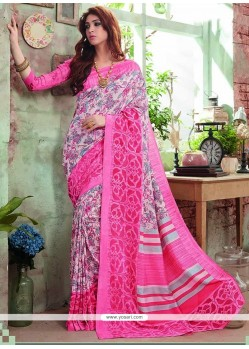 Dashing Art Silk Pink Printed Saree