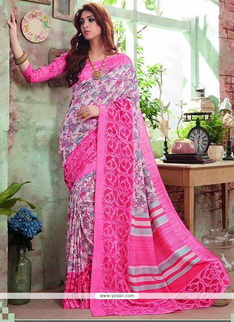 Dashing Art Silk Pink Printed Saree