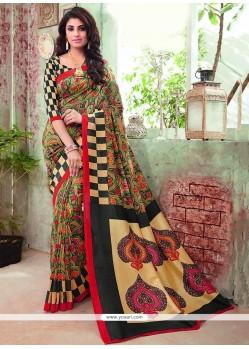 Magnetize Multi Colour Print Work Art Silk Casual Saree