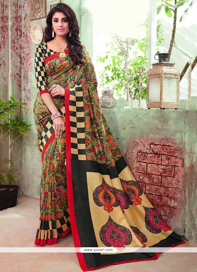 Magnetize Multi Colour Print Work Art Silk Casual Saree