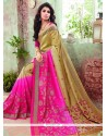 Tiptop Hot Pink Print Work Printed Saree