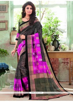 Amusing Multi Colour Print Work Art Silk Printed Saree