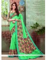 Absorbing Sea Green Print Work Art Silk Casual Saree