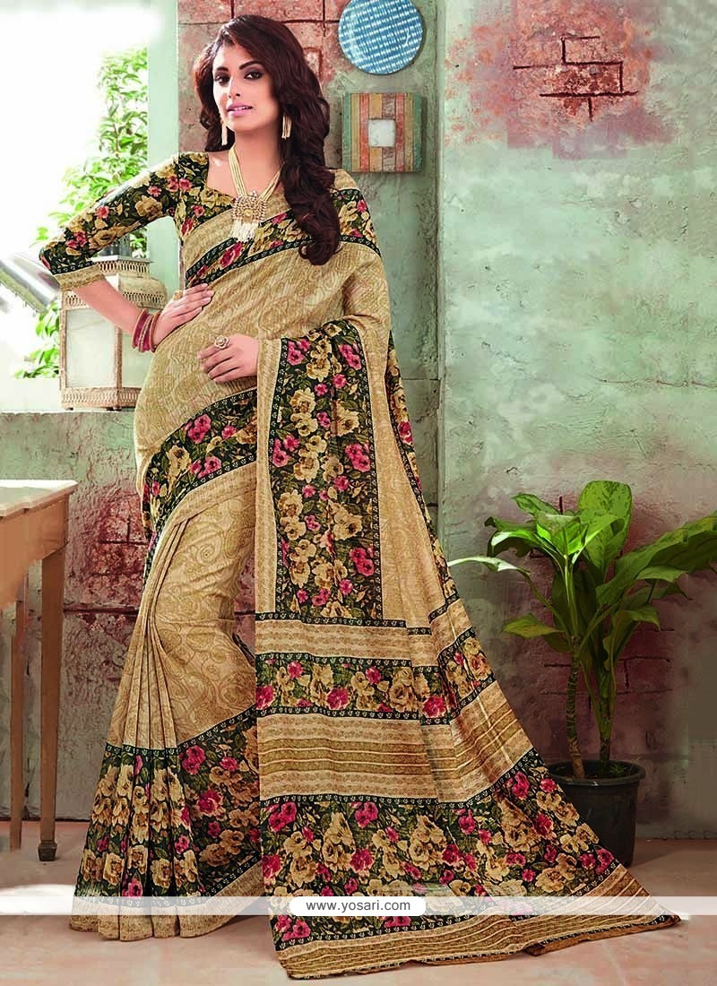 Groovy Art Silk Print Work Printed Saree