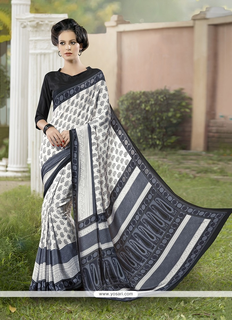 Wonderous Print Work Faux Crepe Printed Saree