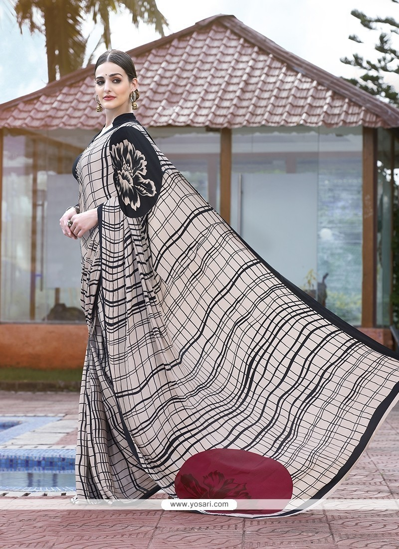 Hypnotic Faux Crepe Printed Saree