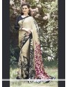 Swanky Faux Crepe Multi Colour Print Work Casual Saree