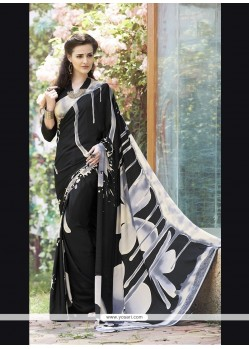 Catchy Print Work Black Faux Crepe Printed Saree