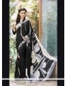 Catchy Print Work Black Faux Crepe Printed Saree
