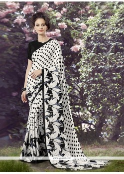 Spectacular Black Faux Crepe Printed Saree