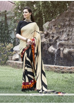 Radiant Multi Colour Print Work Faux Crepe Printed Saree