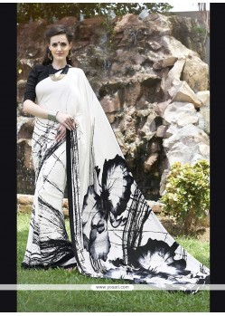Mesmerizing Print Work Off White Faux Crepe Casual Saree