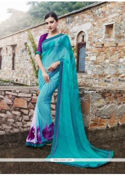 Distinguishable Blue Printed Saree
