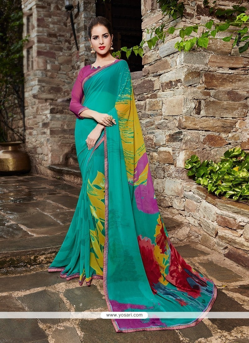 Alluring Georgette Print Work Printed Saree
