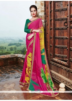 Classical Print Work Georgette Printed Saree