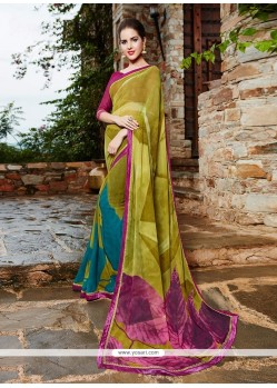 Thrilling Georgette Print Work Printed Saree