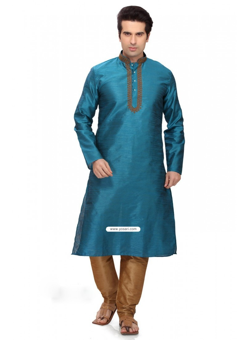 Ready Made Blue Art Silk Kurta Pajama For Men