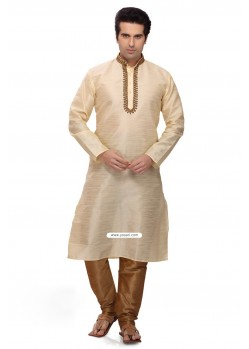 Cream Punjabi New Style Kurta Pajama In Art Silk