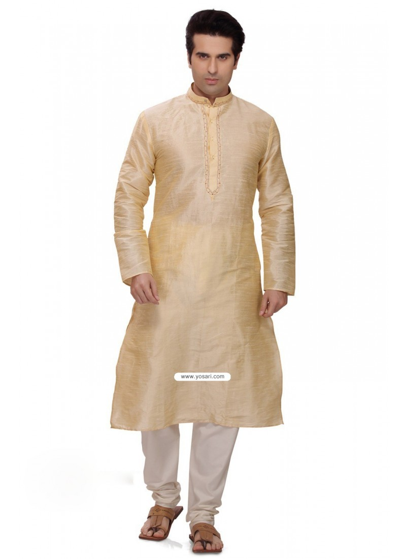 Light Gold Art Silk Punjabi Kurta Pajama For Men