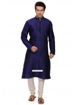 Blue Art Silk Party Wear Kurta Pajama For Men