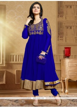 Dazzling Blue Embroidery Anarkali Suit