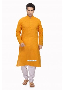 Yellow Ready Made Pakistani Kurta Pajama For Eid