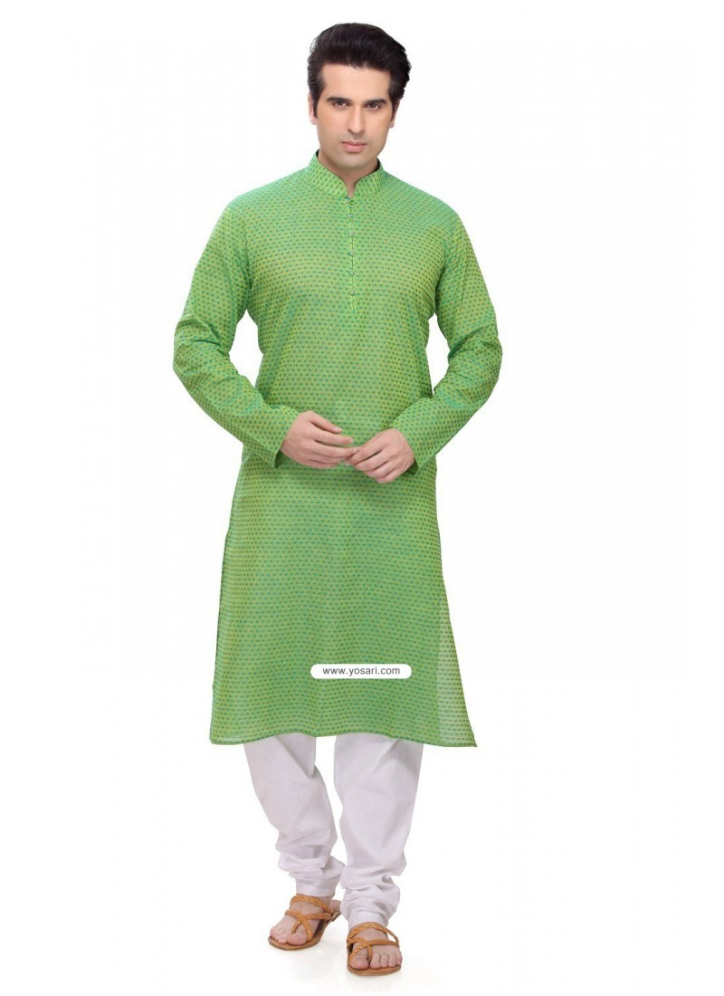 Green Eid Wear Indian Punjabi Kurta Pajama In Cotton