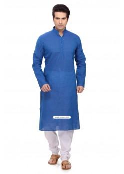 Blue Casual Wear Ready Made Punjabi Kurta Payjama In Cotton