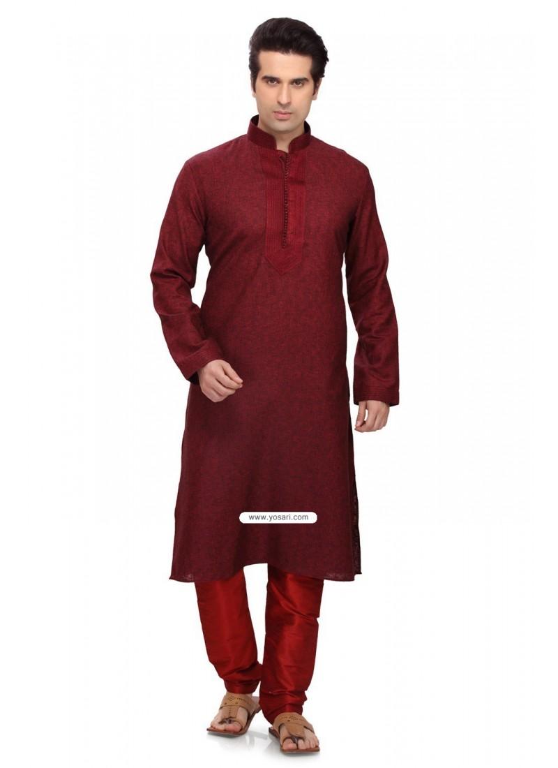 Maroon Art Silk Latest Kurta Pajama For Men