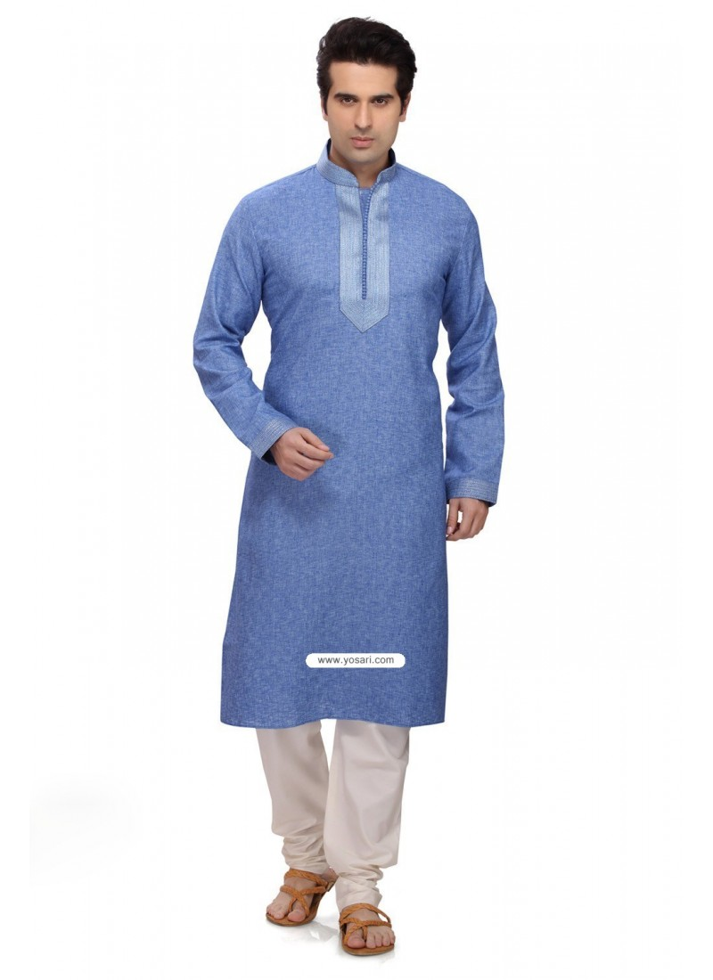 Blue Traditional Indian Reaymade Kurta Pajama In Art Silk