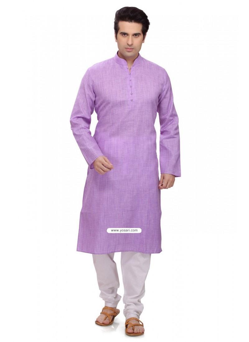 Purple Ready Made Ethnic Kurta Pajama In Cotton