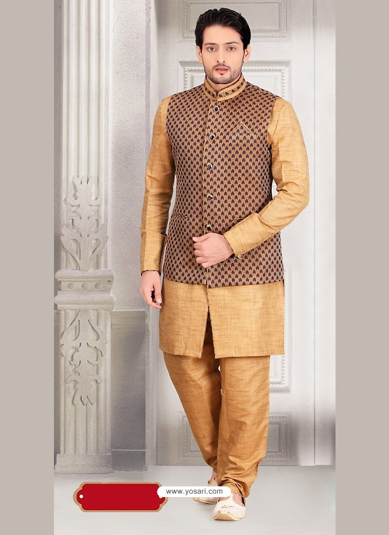 Brown Cotton Silk Pakistani Jacket Kurta Pajama With Jacket