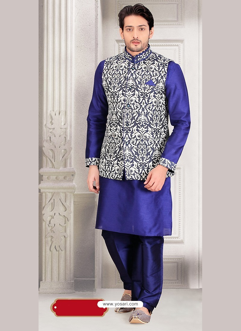 Blue Dupion Silk Indian Punjabi Jacket Kurta Pajama Set