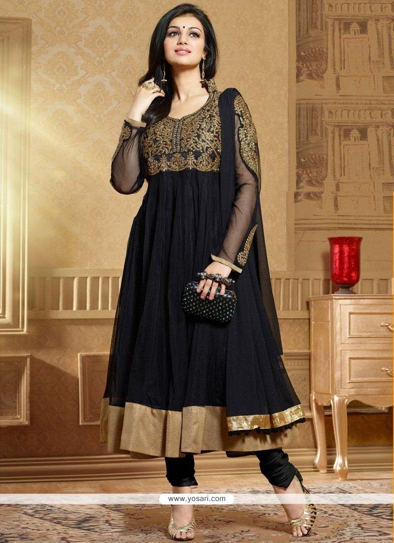 Natural Black Soft Net Anarkali Suit