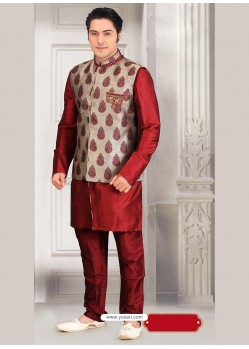 Maroon Ready Made Eid Wear Kurta Pajama With Nehru Jacket