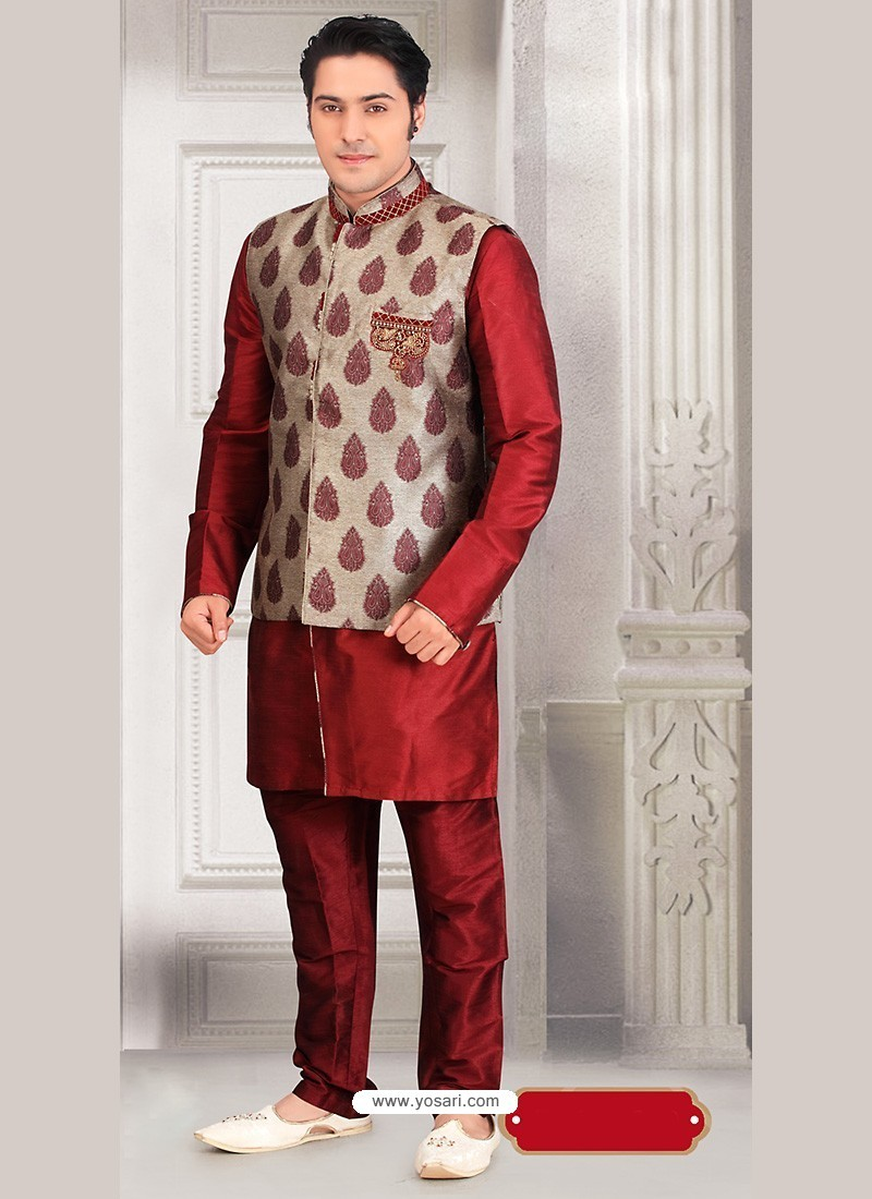 903b535580 Buy Maroon Ready Made Eid Wear Kurta Pajama With Nehru Jacket ...